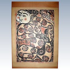 "Shiko Munakata Hand Colored Woodblock Print ""SAIHA FESTIVAL"""