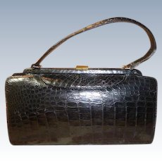 Vintage Black Natural Alligator Handbag