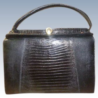 Vintage Black Natural Lizard Handbag