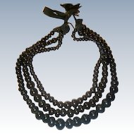 Antique Mourning Three Strand Glass Necklace