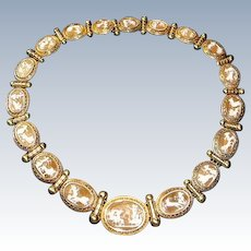 Antique Italian 18 K Gold Etruscan Revival Necklace and Earrings