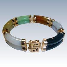 Vintage GUMP'S Jade & 14 K Gold Bracelet