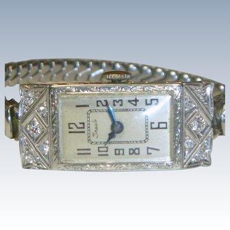 Art Deco 18 K Gold & Diamond Ladies Cabot Watch