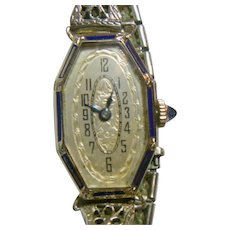 Vintage Art Deco EXELLO Ladies 14 K White Gold & Blue Enamel Watch