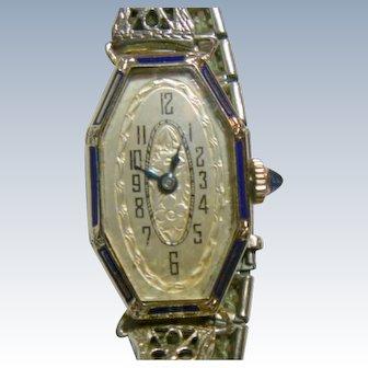 Vintage Art Deco EXELLO Ladies 14 K White Gold & Blue Enamel Watch