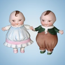 "4"" HAPPIFATS Pair All BIsque Dolls Exceptional!"