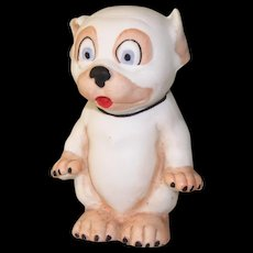 """3 1/8"""" Hertwig Bisque Bonzo Comic Dog Figure from Factory Sample Card"""
