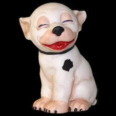 """3 1/8"""" Hertwig Bisque Bonzo Comic Dog Figure from Factory Sample Card ~ Happy Fellow!"""