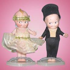 "4 1/2"" Kewpie Bride and Groom ~ Original Silk & Crepe Paper Costumes"