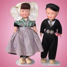 "Pair 9"" Dutch Celluloid Dolls Cellba & Dovina"