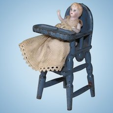 "2"" Baby in High Chair for Dollhouse or All Bisque Mama"