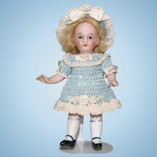 """4"""" Adorable Dollhouse Girl ~ Glass Eyes & Jointed All Bisque Doll"""