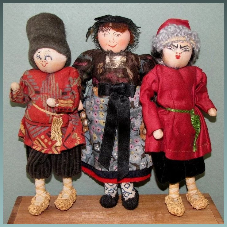 3 Cloth Russian Character Dolls 6 12 And Great Condition A