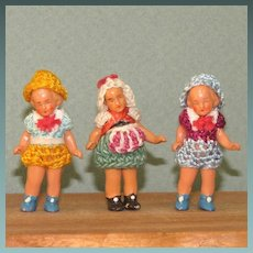"""3 Hertwigs - 1 3/4"""" ~ MINI All Bisque Dolls"""