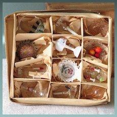 Box of 12 German Glass Dollhouse Accessories