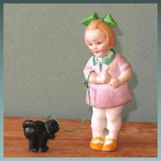 """3"""" Hertwig Girl Scolding her Black Cat  ~ Darling All Bisque Doll!"""