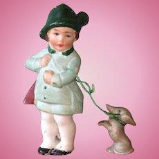 """3"""" Hertwig Hunter Boy with his Ferocious Dachshund on Leash"""