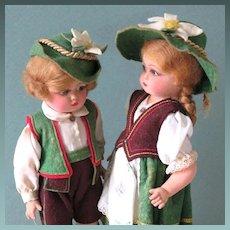 "7 1/2"" Flocked Celluloid Pair of Italian Dolls by Broggi"