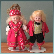 """3 1/2"""" Pr Celluloid Norwegian Dolls by Buschow & Beck German"""