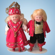 "3 1/2"" Pr Celluloid Norwegian Dolls by Buschow & Beck German"