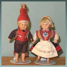 """3 1/2"""" Pr Celluloid Norwegian Dolls by Rheinische Gummi - German"""