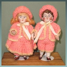 "6"" Brother/Sister Kestner Twins ~ All Bisque dolls ~ Perfect!"