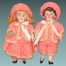 """6"""" Brother/Sister Kestner Twins ~ All Bisque dolls ~ Perfect!"""
