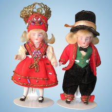 "3"" All Bisque Pair Norwegians ~ All Original Wedding Costumes!"