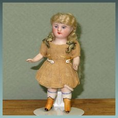 "3 1/4"" Kestner 184 with Yellow Boots All Original All Bisque Doll"