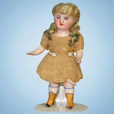 """3 1/4"""" Kestner 184 with Yellow Boots All Original All Bisque Doll"""