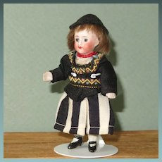 """Tiny All Bisque Dollhouse Lady ~ 3 1/4"""" and All Original '230 / 5 1/2'"""