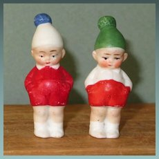"""Pair 1 3/4"""" Hertwig Immobile Boys ~ Cute for Dollhouse!"""