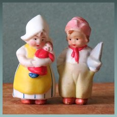 "1 1/2"" Hertwig Dutch Children ~ Immobile Bisque Tinies"