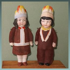 "6 5/8"" Pair Hertwig Indian Children ~ All Bisque Character Dolls"