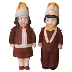 """6 5/8"""" Pair Hertwig Indian Children ~ All Bisque Character Dolls"""