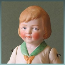 "7"" Hertwig All Bisque Boy with Molded Clothes"