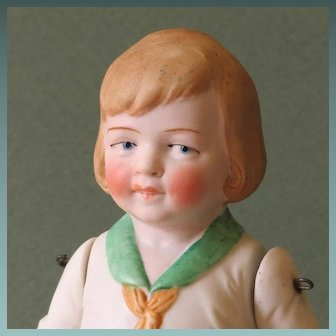 """7"""" Hertwig All Bisque Boy with Molded Clothes"""