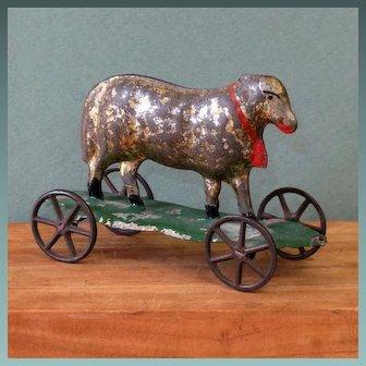 "Wonderful Sheep Tin Pull Toy 3"" x 4 1/2"""