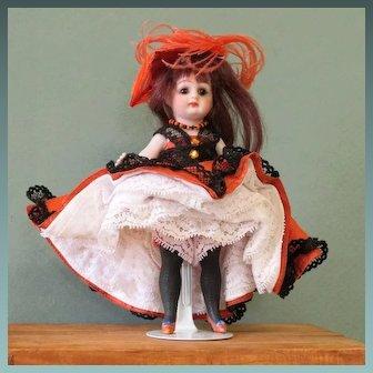 "5 1/2"" Kestner Blk. Stockings & Slippers Can-Can Dancer"
