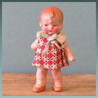 """3 1/2"""" Hertwig Dollhouse Doll Painted Bisque All Original"""