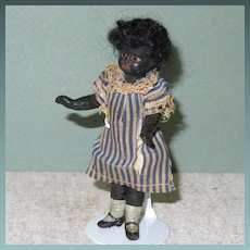"4 1/4"" Black Bisque Head Doll House Doll Factory Original"