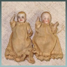 "Pair 2"" All Bisque Babies for your Dollhouse"