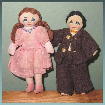 "4"" Pr Cloth Dollhouse Dolls ~ Handmade & Darling!"