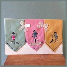 3 Sweet Children's Hankies on Orig. Card ~ Swiss