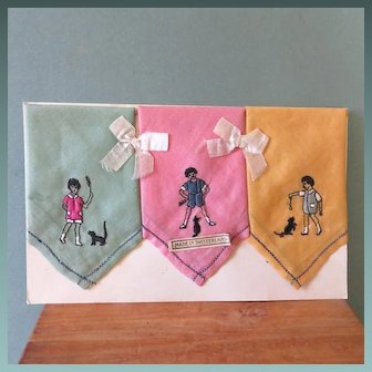 3 Sweet Children's Hankies on Orig. Card ~ Swiss