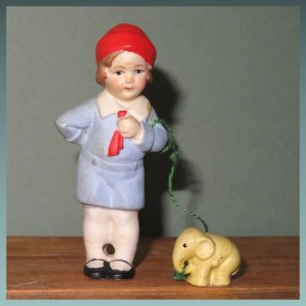 "3"" Hertwig Boy with Elephant on ""Leash"" ~ Darling All Bisque Doll!"