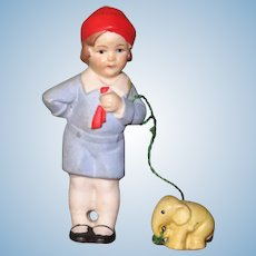 """3"""" Hertwig Boy with Elephant on """"Leash"""" ~ Darling All Bisque Doll!"""