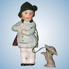 "3"" Hertwig Boy with his Hunting Dachshund Dog on Leash"