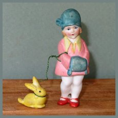 "3"" Hertwig Girl with Her Pet Bunny on ""Leash"" ~ Darling All Bisque Doll!"