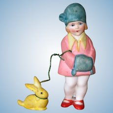 """3"""" Hertwig Girl with Her Pet Bunny on """"Leash"""" ~ Darling All Bisque Doll!"""